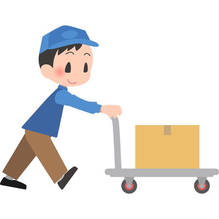 Delivery Man Push Cart