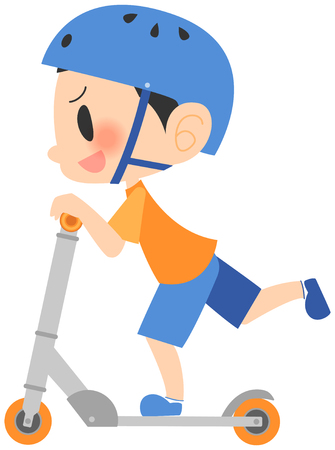 Running on a kick Board boy 向量圖像