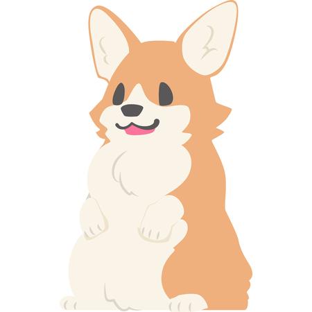 Dog stand up on its hind legs (CORGI) Ilustração