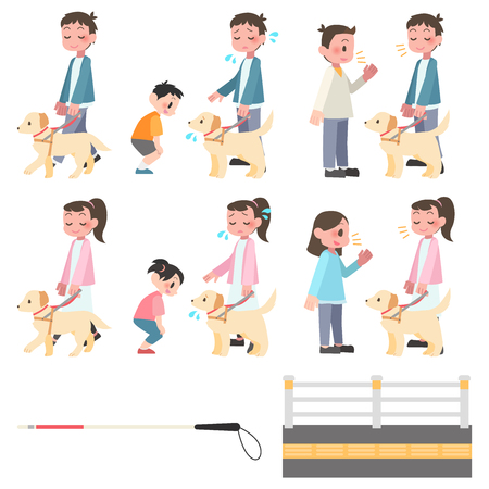 Visually impaired set accompanied by a seeing-eye dog  イラスト・ベクター素材