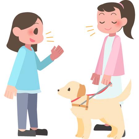 Women talk to the visually impaired Stock Illustratie