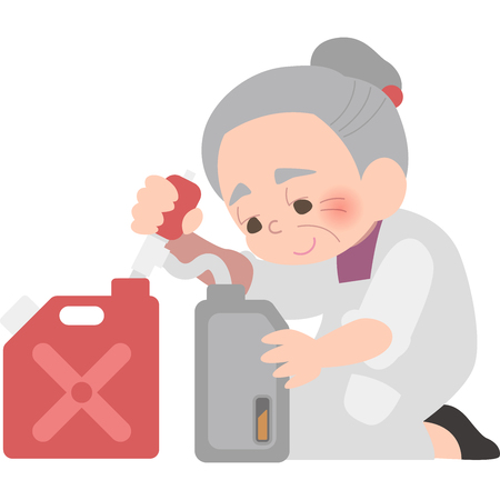 Grandmother to refuel a kerosene Illustration
