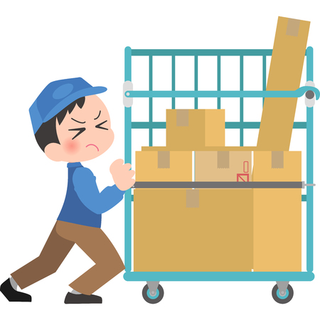 Delivery man pushing a heavy cart Dolly Illustration