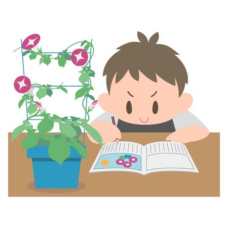 Boy glory observation diary  イラスト・ベクター素材