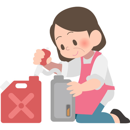 Aunt to refuel a kerosene Illustration