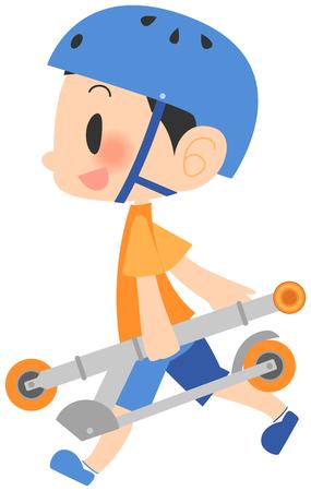 Boys got scooters, walking 向量圖像