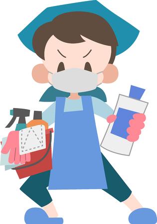 Huisvrouw met schoonmaakgereedschap Vector Illustratie