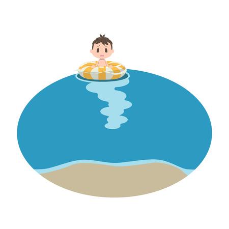 Boy swept off the coast Illustration