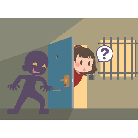 Suspicious person hiding in the blind spot of the door  イラスト・ベクター素材