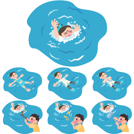 Women tall scum drowning rescue set Illustration