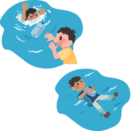 Drowning man rescue set.  イラスト・ベクター素材
