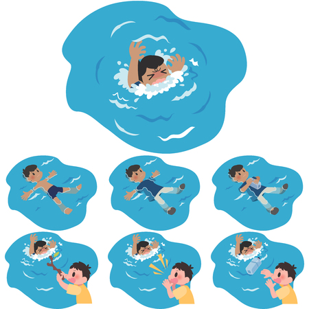 Drowning men tall floating rescue set.