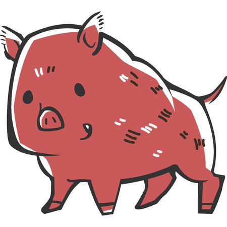 Wild boar (print design)  イラスト・ベクター素材