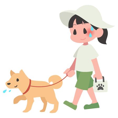Dog pet walks summer hot women