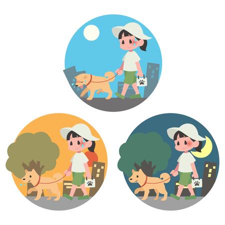 Summer dog walking pet female background heat stroke set