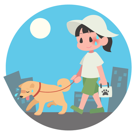 Dog pet walks summer hot female exhaustion background days