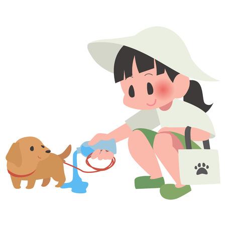 Dog pet walk cleaning lady