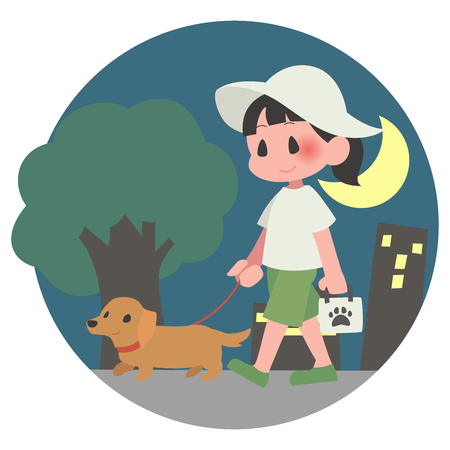 Dog pet walks summer hot women background at night
