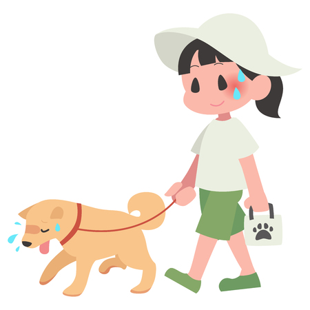 Dog pet walks summer hot exhaustion female Illustration