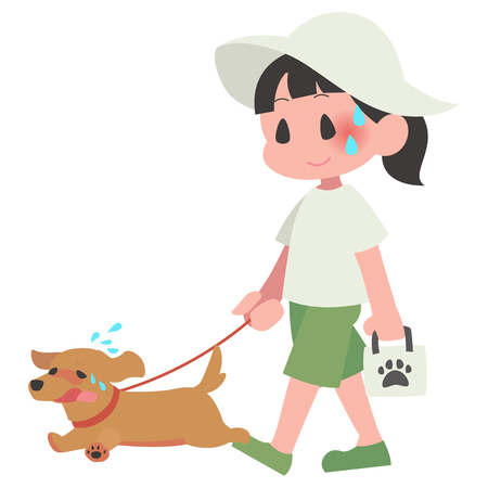 Heatstroke pet dog walking woman