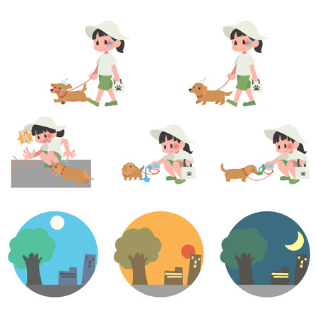 Dog pet walks summer hot exhaustion female set