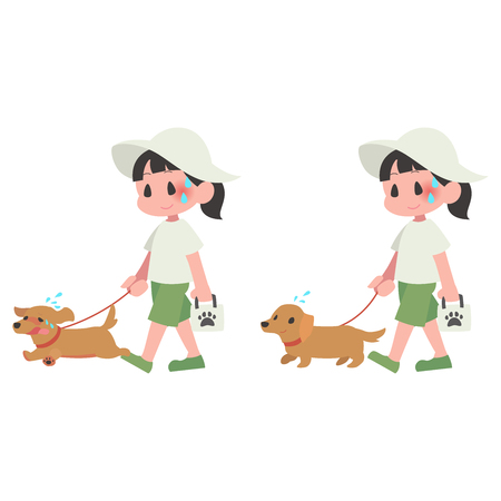 Hot dog pet walk women summer heat stroke set