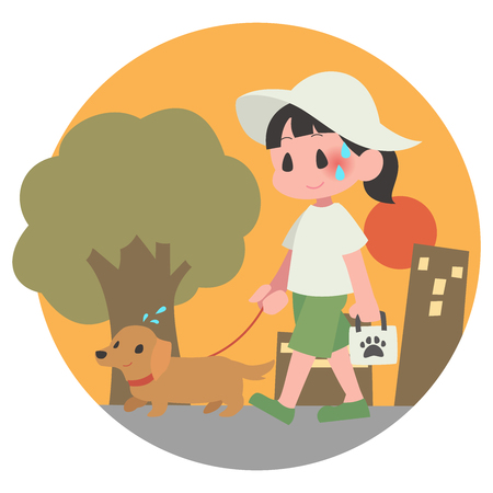 Dog pet walks summer evening hot women background  イラスト・ベクター素材