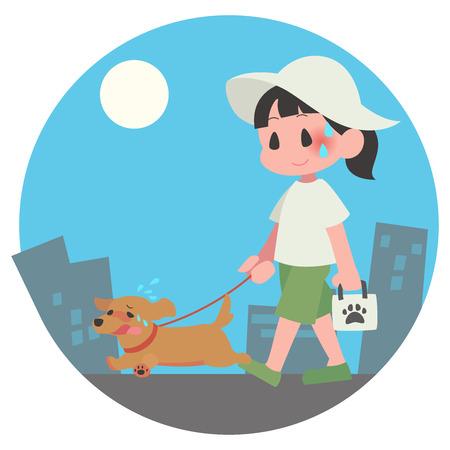 Dog pet walks summer hot female exhaustion background days
