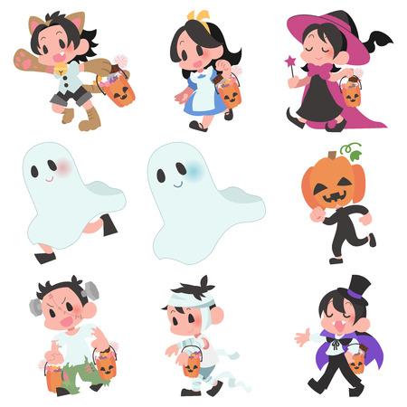 Halloween costumes kids character set