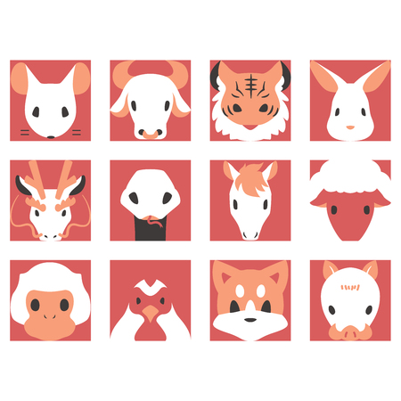 Zodiac icon New Year's card material  イラスト・ベクター素材