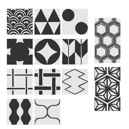 Japanese pattern hand-drawn pattern material  イラスト・ベクター素材