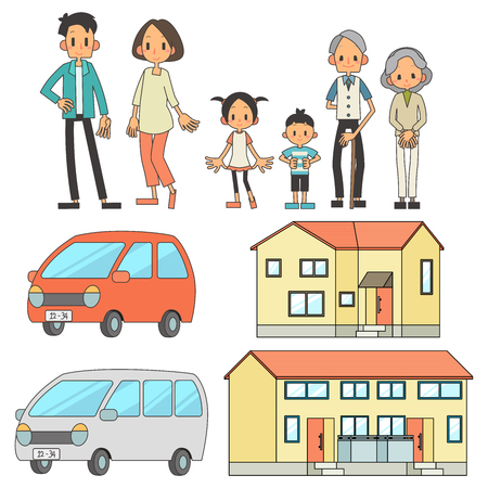 Family 3 households Private car home set