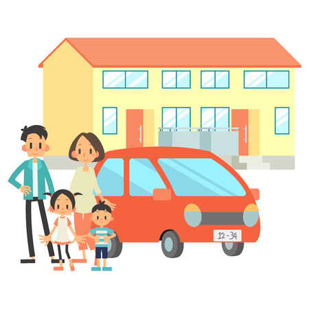 2 Household Family Residential Vehicle  イラスト・ベクター素材