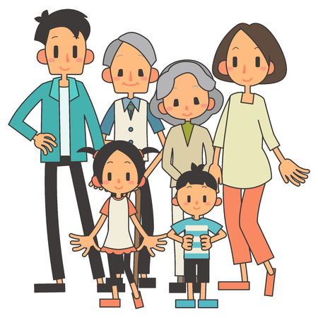Family 3 households 向量圖像