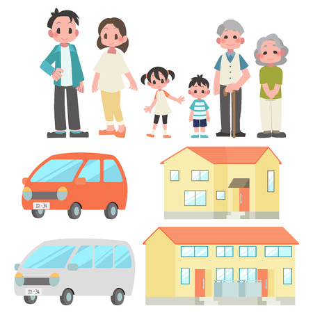 Family 3 households Private car home set  イラスト・ベクター素材