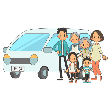 Family 3 households private car  イラスト・ベクター素材