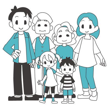 Family 3 households  イラスト・ベクター素材