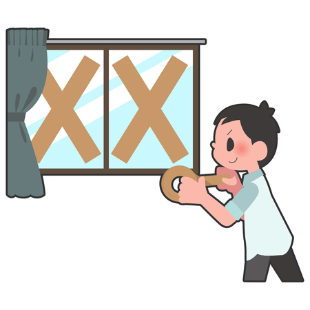 Window reinforced gum tape Male  イラスト・ベクター素材