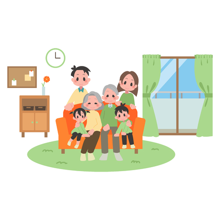 Three households family at living room  イラスト・ベクター素材