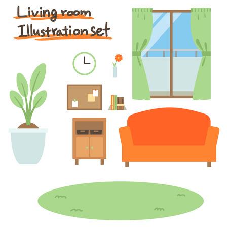 livingroom illustration set Ilustrace