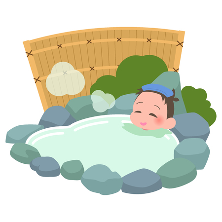 Soak in the hot springs man Illustration