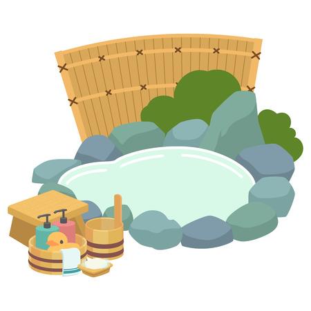 Open-air bath bath goods Illustration