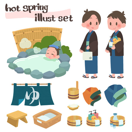 Open-air baths hot springs travel man set  イラスト・ベクター素材