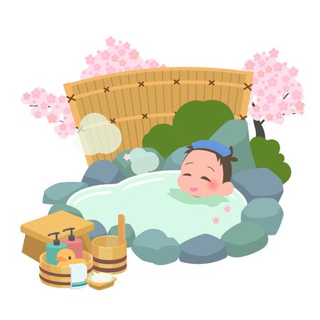 Men spring to soak in the hot springs Illustration