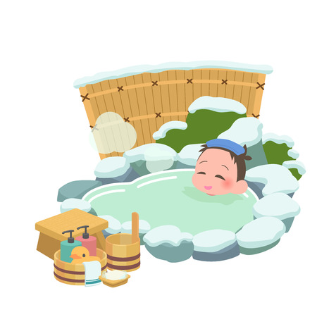 Men winter to soak in the hot springs  イラスト・ベクター素材
