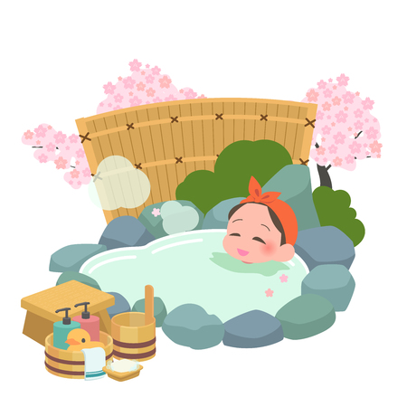 Frauen springen, um in den heißen Quellen zu baden