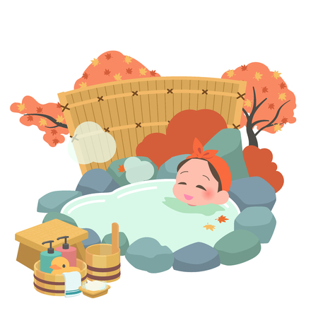 Women fall to soak in the hot springs Illustration