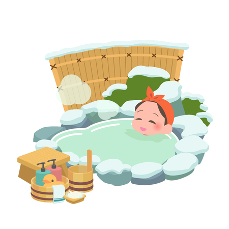 Lady winter to soak in the hot springs Illustration