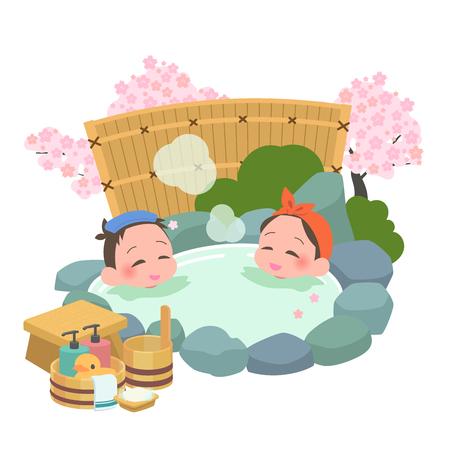 Mixed men and women spring, open-air bath