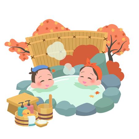 Open-air bath mixed men and women fall